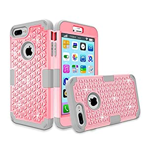 iPhone 7 Plus Case, Speedup Diamond Studded Crystal Rhinestone 3 in 1 Hybrid Shockproof Cover Silicone and Hard PC Case for Apple iPhone 7 Plus (2016 Released) (Pink + Grey)