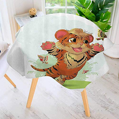 (YCHY Circular Table Cover Washable Polyester-Little Cub Playing with Butterflies in The Meadow Joyful Lively Baby Tiger Cat Stain Resistant Wrinkle Free Dust Table Cover 43.5