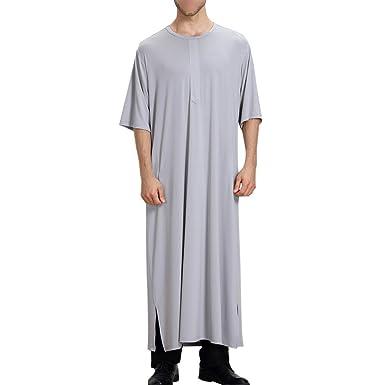 30c1c77da82 Hzjundasi Muslim Round Neck Half Sleeve Pure Color Saudi Arabia Men's Thobe  Islamic Dubai Robe Dishdasha