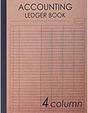 Accounting Ledger Book 4 Column: 120 pages , 8.5 x 11 inches ( large size ) , Brown craft paper style cover : Simple / General Accounting Ledger Book for Bookkeeping