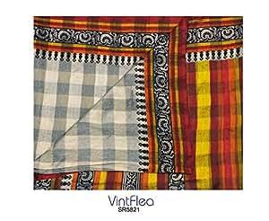 sari vendimia tejido de mezcla de seda indio abstracto taupe impresa decoración del hogar del arte hecho a mano con material reciclado cortina 5YD cortina de tela upcycled mujeres solían coser sari