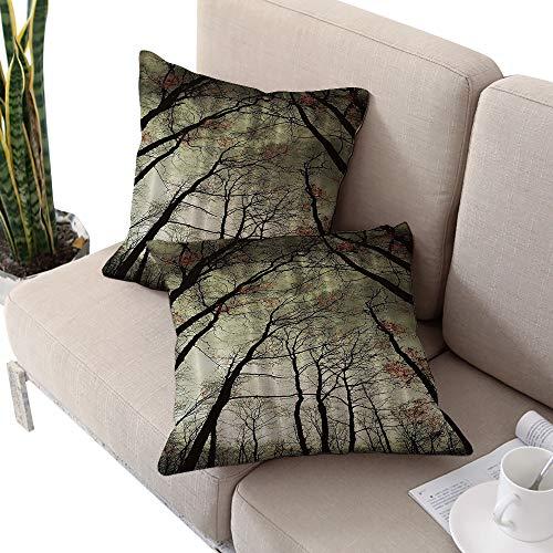 Brandosn Nature Decor Collection Square futon Cushion Cover,Mystic Dark Forest Dead Trees Green Black Khaki W24 xL24 2pcs Cushion Cases Pillowcases for Sofa Bedroom -