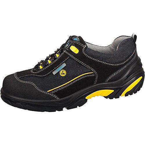 Abeba ESD-S-Schuh Crawler ALU Halbschuh sw/ gelb, Velours m. Textil, CE, EN ISO 20345:2011, S1, Gr. 38