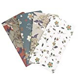 Best M Floral Travel Journal Refills Blank Travelers Notebook Filler Kraft Papers Journal Dairy Inserts 4 Pack Set (Floral Set)