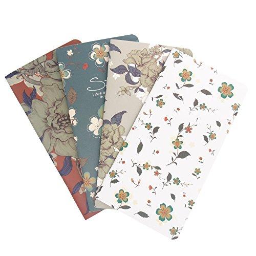 Best M Floral Travel Journal Refills Blank Travelers Notebook Filler Kraft Papers Journal Dairy Inserts 4 Pack Set (Floral Set)