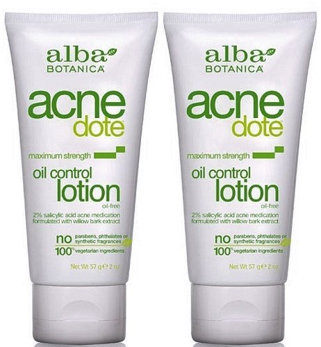 Alba Botanica Natural AcneDote Oil Control Lotion, Maximum Strength 2 Oz (Pack of 2)