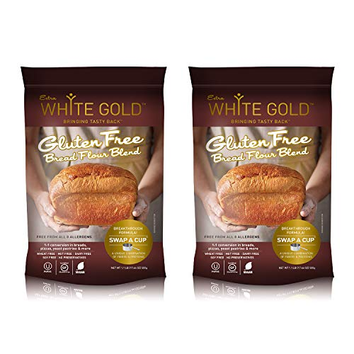 - Extra White Gold Gluten Free Bread Flour Blend – For Breads, Yeasted Pastries , Pizza, Focaccia – [Kosher] [Gluten Free] [Vegan] [Soy Free] [Nut Free] [Dairy Free] – 1.1 Pound (2 pack)