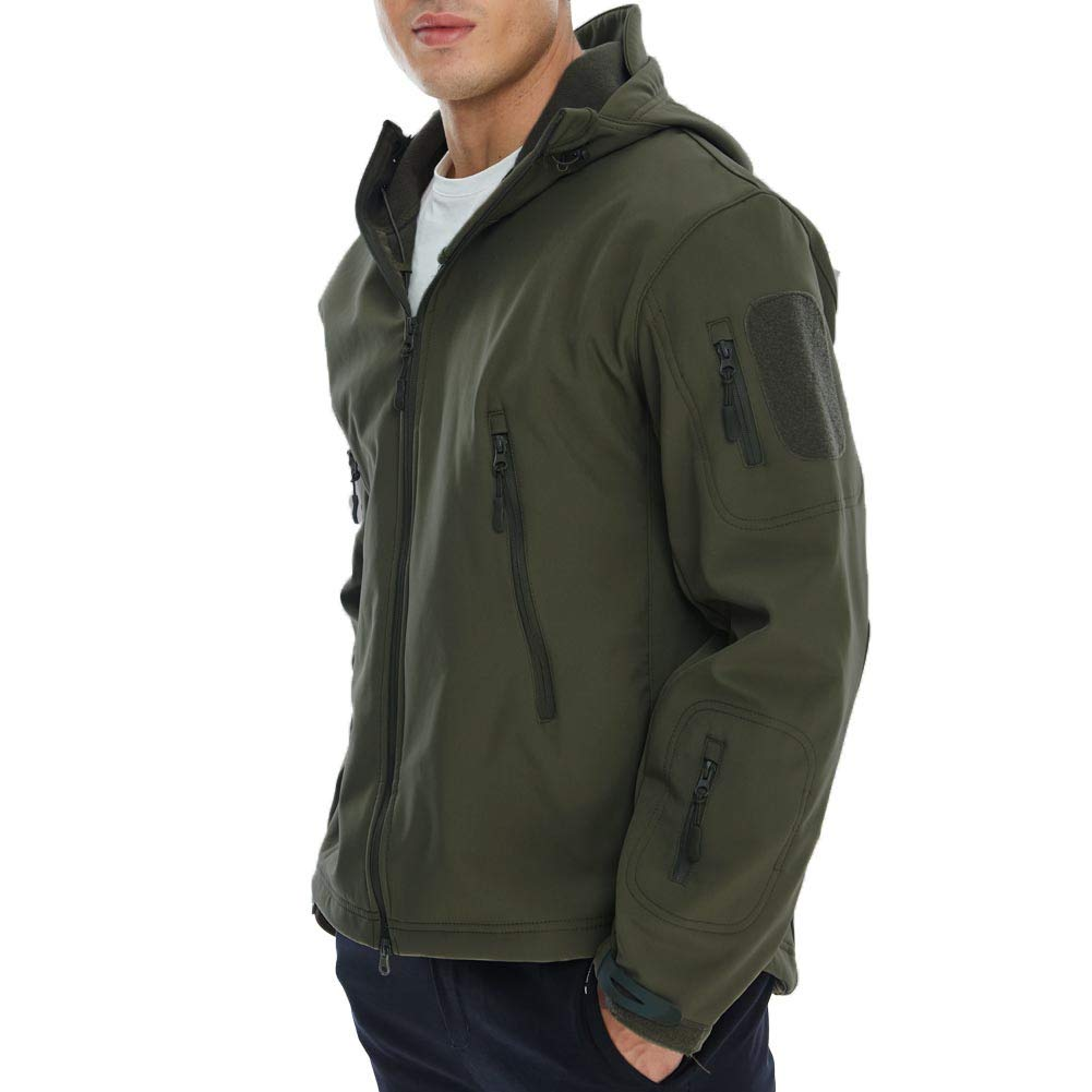 JUCFHY Mens Lightweight Windbreaker with Hood Waterproof Tactical Jackets for Hiking Climbing