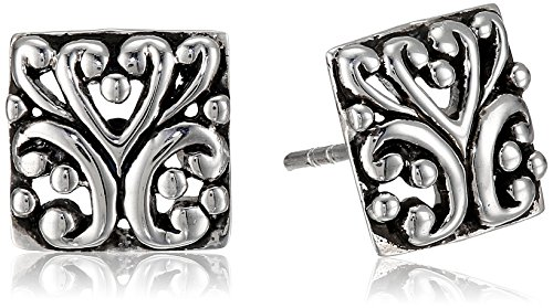 Barse Sterling Silver Ornate Scroll Post Stud Earrings