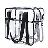 HNYG Clear Tote Bag with Shoulder straps and Zippered Top Perfect for Work, School, Sports Games and Concerts A526