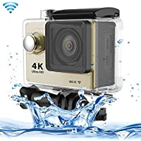Professional Product Easy to Use H9 4K Ultra HD1080P 12MP 2 inch LCD Screen WiFi Sports Camera, 170 Degrees Wide Angle Lens, 30m Waterproof ( Color : Gold )