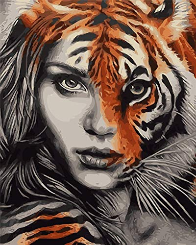 YEESAM ART New DIY Paint by Numbers Kits for Adults Kids Beginner - Tiger Girl Face, Animals 16x20 inch Linen Canvas - Stress Less Number Painting -