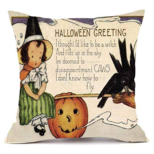 YOcheerful Happy Halloween Throw Pillow Sofa Cushion Cover Home Decor (G,45cm45cm) for $<!--$1.99-->