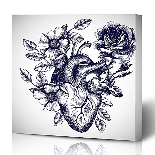 (Ahawoso Canvas Print Wall Art 16x16 Inch State Anatomic Blooming Anatomical Human Heart Vintage Beam Style Design for Your Tattoo Engraving Modern Artwork Printing Home Decor Wrapp Gallery)