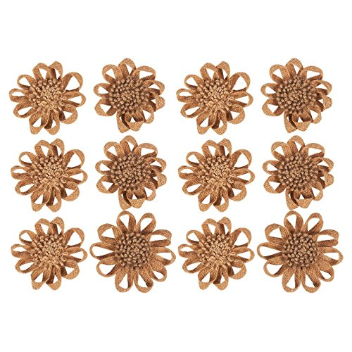 12-Piece Burlap Flower Set - Shabby Chic Flowers, Jute Flowers, Flower Embellishments for Weddings, Interior Decoration, Outdoor Decoration, Brown - 4.5 Inches in Diameter (Burlap In Bulk)