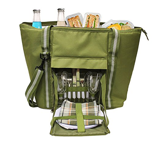 Earthwise Large Insulated PICNIC BAG Basket Backpack Tote Set w/COMPLETE 2 PERSON TABLE SETTING Utensils Set ZIPPER Compartment & Adjustable Shoulder Strap