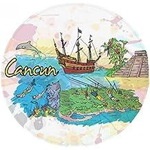 Cancun Mexico Island Mayan Temple Anti-slip Floor Pet Mat Round Bathroom Living Room Kitchen Door 60/50cm Gift