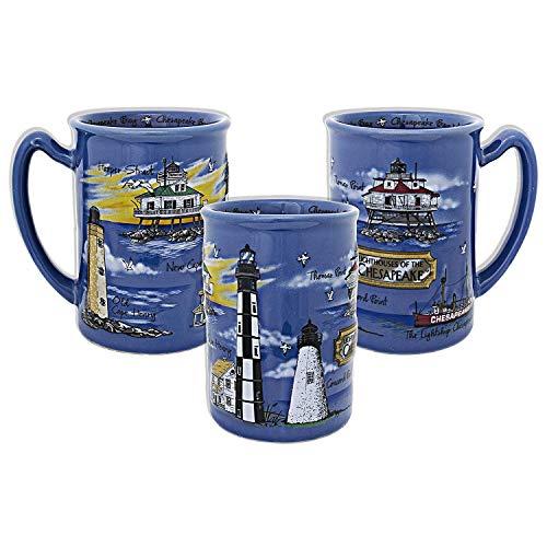 - Lighthouses of the Chesapeake - Chesapeake Bay MD - Souvenir Blue Raised Coffee Mug