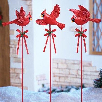Set of 3 Christmas Cardinal Red Birds Whimsical Winter Ho...