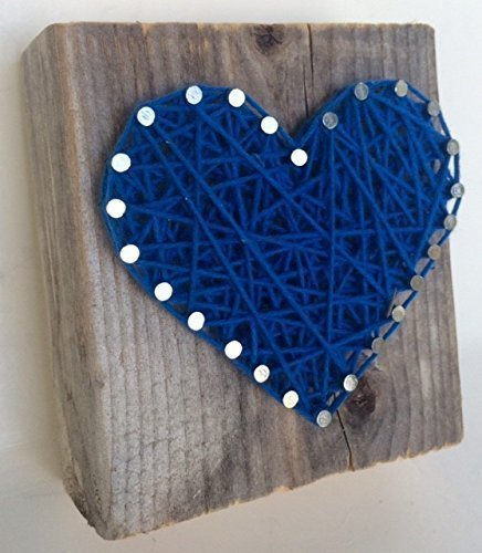 Sweet and small rustic dark blue string art wooden heart block Father's Day, Baby Boys, Weddings, Anniversaries, Birthdays, Valentines'Day, Christmas and just because. (Gifts For Homemade Teacher Christmas)