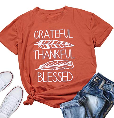 b2b82bb0a91 LUKYCILD Women Grateful Thankful Blessed Thanksgiving Shirt Casual Short  Sleeve Feather Print Top