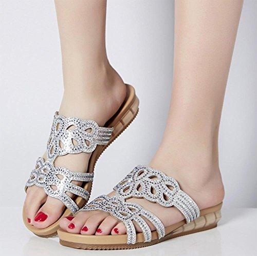 Sra. De cuero zapatos planos, sandalias y zapatillas zapatillas antideslizantes cómodos gruesos con los estudiantes Silver