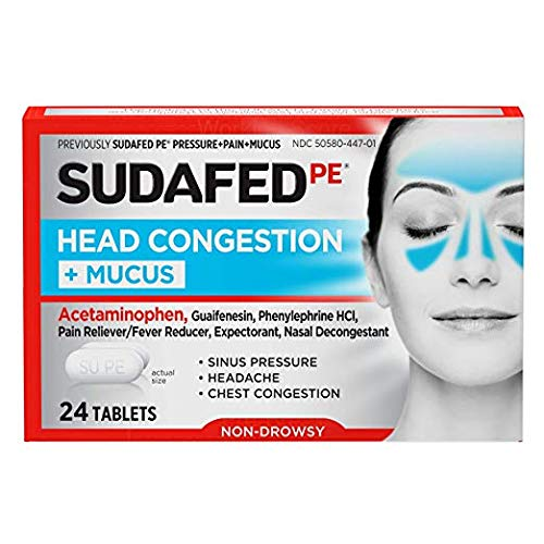 Sudafed PE Pressure + Pain + Mucus Relief for Sinus Pressure and Nasal Congestion, 24 ct (2 Pack 24 ct)