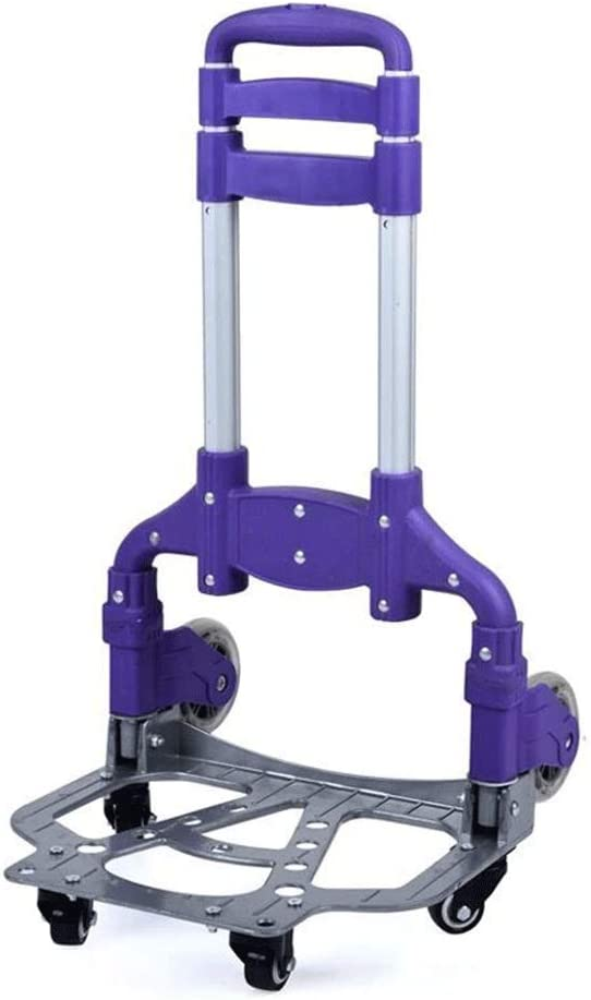 RGZJ Trolley Dolly Trolley Fold Portable Trolley Shopping Cart Small Trailer Aluminum Alloy Luggage Cart Load 150 Kg Four Colors Optional Color : B