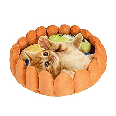 laamei Pet Round Cushion Bed, Warm Cotton Cat Cave Bed Plush Fruit Tart Pattern Mat Pad for Cats Dogs Sleeping Sniffing Playing by laamei