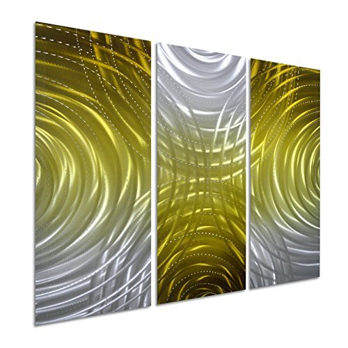 Mexican Rustic 3 Drawer (Pure Art Circles of Greatness - Small Abstract Metal Wall Art - Gold and Silver Hanging Sculpture of 3 Panels - Modern Decoration of 32