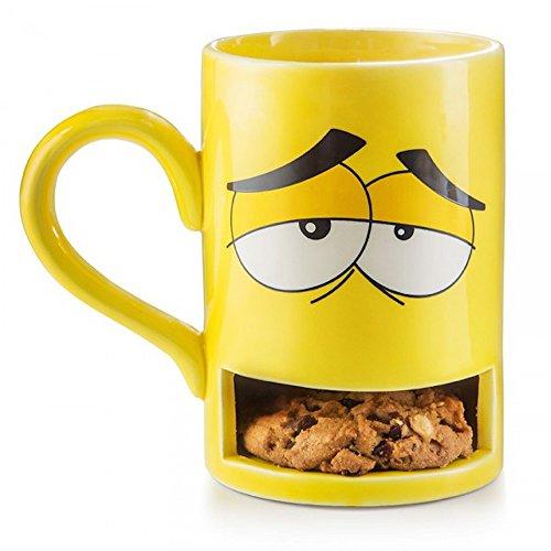 Yellow Monster Cookie Holder Coffee Mug, 8.5 Ounces, Ceramic, Gift Boxed (Coffee Mug Cookie Holder)