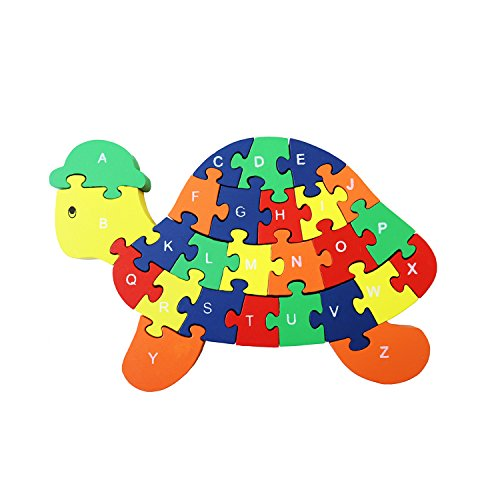 Meshion Colorful Cute Turtle Letter & Numbers Puzzles Wooden Winding Jigsaw Puzzles Toys For Preschool Educational Learning For Toddlers,Kids,Boys,Girls,3-5 Years Old or Up Turtle Alphabet Puzzle