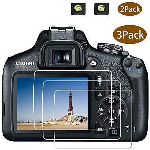 Rebel T7 Screen Protector Appliable for Canon EOS Rebel T7 DSLR Camera & Hot Shoe Cover, [2+3Pack] ULBTER 0.3mm 9H Hardness Tempered Glass Flim Anti-Scrach Anti-Fingerprint Anti-Bubble Anti-Water