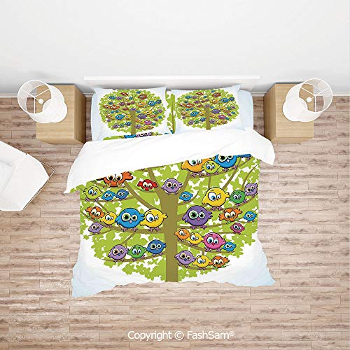 FashSam Luxury 4 Pieces Duvet Cover Bedding Set Cartoon Group of Fun Colorful Canary Bird Family on Oak Branches Animal Illustration for Family(Single)