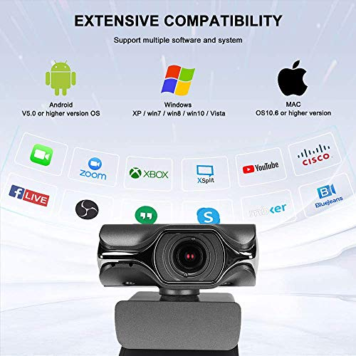 HD Webcam with Microphone, Webcam 1080p for Video Calling,Recording, Conferencing Streaming, USB Laptop Desktop Computer Webcam,Plug and Play,for Windows mac os,for Zoom YouTube Skype FaceTime OBS
