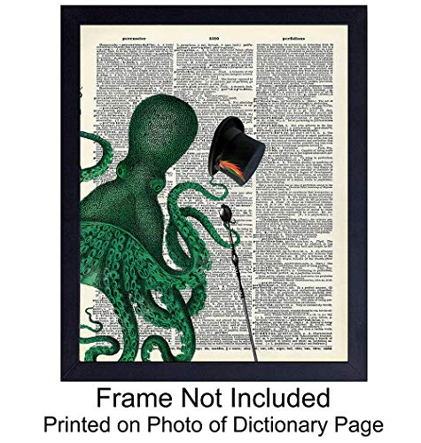 Octopus with Top Hat - Wall Art Print on Dictionary Photo - Ready to Frame Vintage (8X10) Photo - Steampunk - Perfect for Beach House - Great For Home Decor and Easy Gift Giving]()