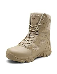 PULUSI Men Lightweight Leather Combat Hiking Army Shoes, Tactical Booties, Waterproof Military Ankle Boots
