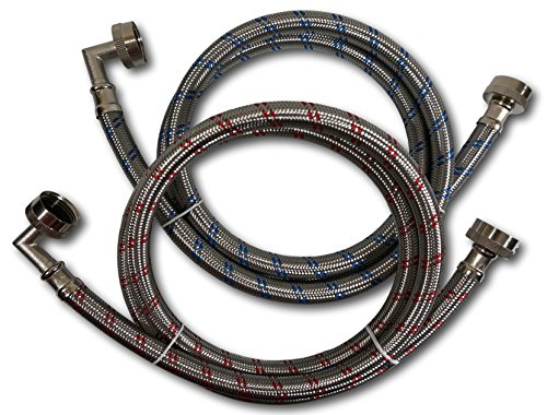 Premium Stainless Steel Washing Machine Hoses with 90 Degree Elbow, 12 Ft Burst Proof (2 Pack) Red and Blue Striped Water Connection Inlet Supply Lines - Lead Free ...