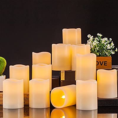 "Enpornk Flameless Candles Battery Operated LED Pillar Real Wax Flickering Electric Unscented Candles with Remote Control Cycling 24 Hours Timer, 3""x4"" Set of 12"