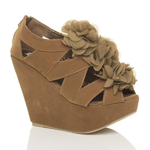 Ajvani Womens Ladies High Heel Platform Wedge Strappy Flower Ruffle Zip Sandals Cut Out Peep Toe Shoes Size Camel 7exx4K2DR