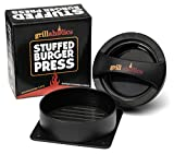 Grillaholics Stuffed Burger Press and Recipe eBook - Hamburger Patty Maker for Grilling - BBQ Grill Accessories