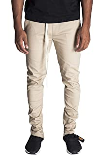 f20b565eccf KDNK Men s Tapered Skinny Fit Stretch Twill Cotton Drawstring Ankle Zip  Pants