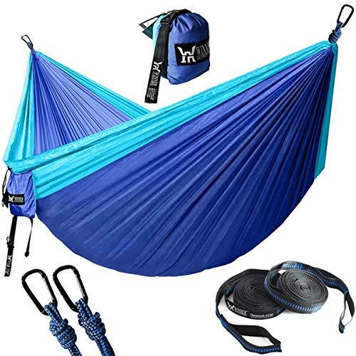Kmark Upgrade Camping Hammock with Hammock Tree Straps Portable Parachute Nylon Hammock for Backpacking Travel