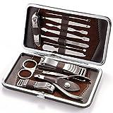 Herramientas de manicura, Sebami juego de cortauñas de 12 Piezas Herramienta Manicura de Acero Inoxidable herramientas de uñas con estuche de cuero