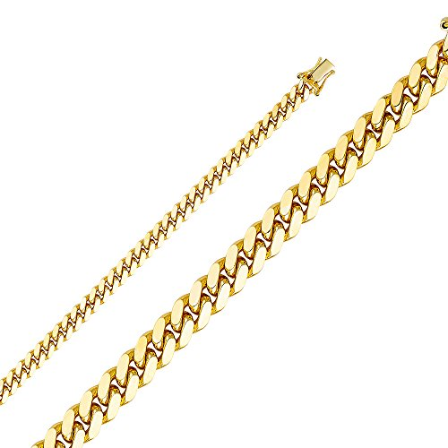 Wellingsale 14k Yellow Gold SOLID 5.5mm Polished Miami Cuban Concaved Curb Chain Bracelet - 8.5
