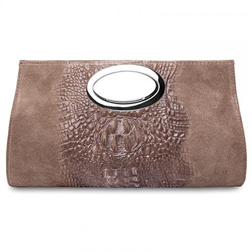 Kaki bandoulière sac main Pochette en avec italien CASPAR TL692 effet DAIM pour femme sac crocodile à 85aw0q