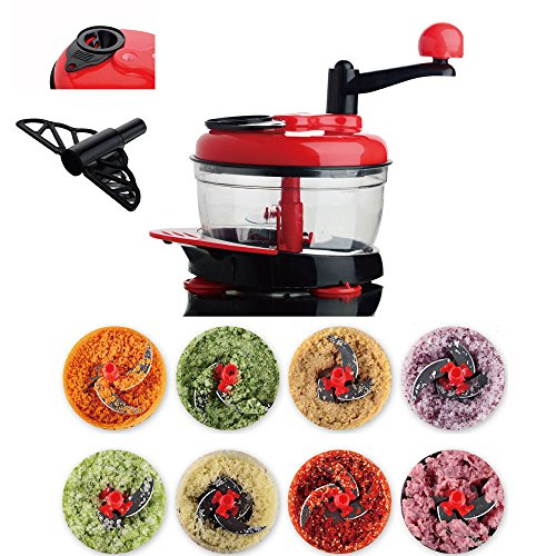 AMAMDOOG Manual Meat Grinder Multi Vegetable Chopper Baby Food Processor Fast Salsa Maker Food Mixer With 3 Control (Salsa Maker)