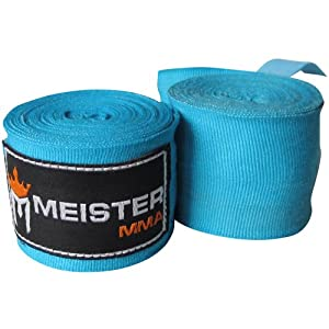 Meister Adult 180″ Semi-Elastic Hand Wraps for MMA & Boxing (Pair)