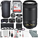 Nikon AF-P DX NIKKOR 70-300mm f/4.5-6.3G ED VR Lens W/ Platinum Bundle 58mm Telephoto & Wide-angle Lens , Variety of Filters + Lens Pouch, 16GB SD Card, and Xpix Lens Accessories