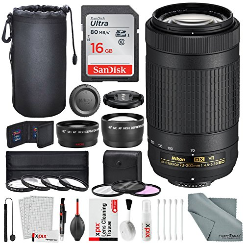 Nikon AF-P DX NIKKOR 70-300mm f/4.5-6.3G ED VR Lens W/ Platinum Bundle 58mm Telephoto & Wide-angle Lens , Variety of Filters + Lens Pouch, 16GB SD Card, and Xpix Lens Accessories by Photo Savings